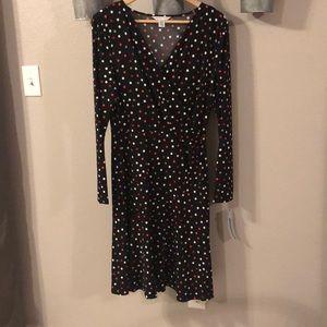 Black Polka Dot Faux Wrap Dress